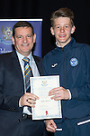 St Johnstone FC Youth Academy Presentation Night at Perth Concert Hall..21.04.14<br /> Chairman Steve Brown presents to Kyle Ainslie<br /> Picture by Graeme Hart.<br /> Copyright Perthshire Picture Agency<br /> Tel: 01738 623350  Mobile: 07990 594431