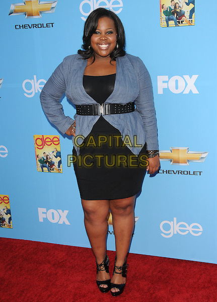 AMBER RILEY.Fox's Premiere Screening & Party for 'Glee' held at Paramount Studios in Hollywood, California, USA..September 7th, 2010                                                                    .full length black dress belt blue jacket shirt hand on hip.CAP/RKE/DVS.©DVS/RockinExposures/Capital Pictures.