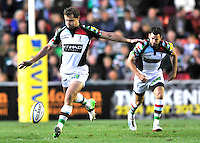 Leicester, England. Nick Evans of Harlequins in action during the Aviva Premiership match between Leicester Tigers and Harlequins at Welford Road on September 22, 2012 in Leicester, England.