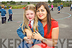 Teacher Carol Ann O'Donoghue pictured with her daughter Hazel pictured on her first day of school at Balloonagh primary, Tralee on Thursday.