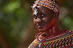 Image Not Model Released. Samburu woman dancer with traditional local beadwork in Samburu National Reserve, Kenya.