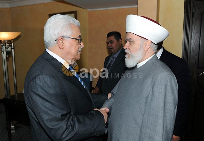 Palestinian President Mahmoud Abbas (Abu Mazen) during a meeting with the Lebanese Mufti Sheikh Mohammed Rashid Qabbani, in Beirut on Aug. 18, 2011. Photo by Thaer Ganaim