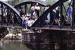 The Bridge on the River Kwai, known to many P.O.W.'s as the bridge of sorrow, attracts thousands of tourists yearly. in Kanchanaburi, Thailand. Over 16,000 allied P.O.W.s died of starvation, maltreatment and disease while building the bridge on the River Kwai and a 250- mile railway from Thailand into Burma. (Jim Bryant Photo)....