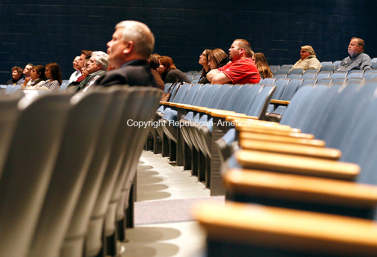 Winsted, CT- 30 March 2015-033015CM10-  Members of the audience listen in as Anne Watson, superintendent of Winchester Schools, talks about the proposed budget for the 2015-2016 school year during a hearing at The Gilbert School in Winsted on Monday.  Christopher Massa Republican-American