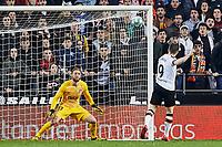 14th February 2020; Mestalla, Valencia, Spain; La Liga Football,Valencia versus Atletico Madrid; Kevin Gameiro of Valencia CF hits his shot high as Goalkeeper Jan Oblak of Atletico de Madrid watches the shot go over
