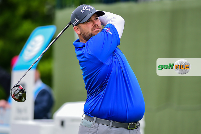 Colt Knost (USA) watches his tee shot on 18 during the round 1 of  the AT&amp;T Byron Nelson, TPC Four Seasons, Irving, Texas, USA. 5/19/2016.<br /> Picture: Golffile | Ken Murray<br /> <br /> <br /> All photo usage must carry mandatory copyright credit (&copy; Golffile | Ken Murray)