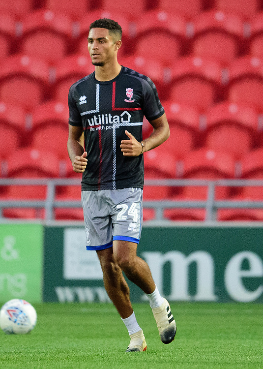 Lincoln City's Max Melbourne during the pre-match warm-up<br /> <br /> Photographer Andrew Vaughan/CameraSport<br /> <br /> EFL Leasing.com Trophy - Northern Section - Group H - Doncaster Rovers v Lincoln City - Tuesday 3rd September 2019 - Keepmoat Stadium - Doncaster<br />  <br /> World Copyright © 2018 CameraSport. All rights reserved. 43 Linden Ave. Countesthorpe. Leicester. England. LE8 5PG - Tel: +44 (0) 116 277 4147 - admin@camerasport.com - www.camerasport.com