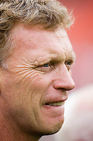 Everton manager David Moyes watches his team before the friendly match held at RFK Stadium in Washington, DC.  D.C. United lost to Everton, 3-1.