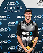 10th February 2019, Seddon Park, Hamilton, New Zealand; 3rd T20 International, New Zealand versus India;    Colin Munro with the ANZ player of the match trophy