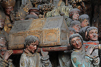 Carrying the relics of St Firmin to Amiens, Gothic style polychrome high-relief sculpture from the South side of the choir screen, 1490-1530, commissioned by canon Adrien de Henencourt, depicting the life of St Firmin, at the Basilique Cathedrale Notre-Dame d'Amiens or Cathedral Basilica of Our Lady of Amiens, built 1220-70 in Gothic style, Amiens, Picardy, France. St Firmin, 272-303 AD, was the first bishop of Amiens. Amiens Cathedral was listed as a UNESCO World Heritage Site in 1981. Picture by Manuel Cohen