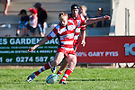 Karaka firstfive Baden Kerr kicks a penalty. Counties Manukau Premier Club Rugby game bewtween Waiuk & Karaka played at Waiuku on Saturday April 11th, 2010..Karaka won the game 24 - 22 after leading 21 - 9 at halftime.