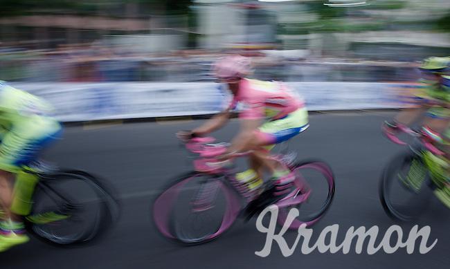 pink helmet, pink bike, pink wheels, pink shoes, pink socks, pink handlebars, pink sunglasses, pink gloves, pink jersey,... this must be Alberto Contador (ESP/Tinkoff-Saxo) speeding along!<br /> <br /> Giro d'Italia 2015<br /> final stage 21: Torino - Milano (178km)