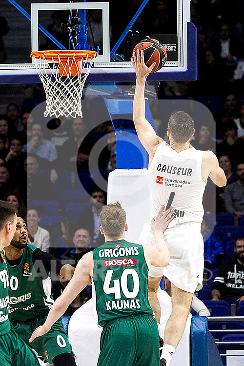 Zalgiris' Marius Grigonis and Real Madrid's Fabien Caseur during Euroligue match between Real Madrid and Zalgiris Kaunas at Wizink Center in Madrid, Spain. April 4, 2019.  (ALTERPHOTOS/Alconada)