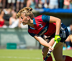 NIJMEGEN -   Gitte Michels (Huizen)  tijdens  de tweede play-off wedstrijd dames, Nijmegen-Huizen (1-4), voor promotie naar de hoofdklasse.. Huizen promoveert naar de hoofdklasse.   COPYRIGHT KOEN SUYK