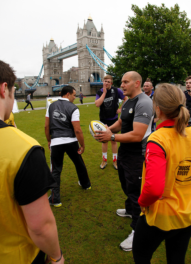 Photo: Richard Lane/Richard Lane Photography. O2 Touch Launch, an RFU initiative aiming to get England playing touch rugby at Potters Field, London. 17/06/2011. Coach.
