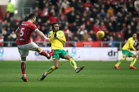 Bailey Wright of Bristol City clears the ball when under pressure from Josh Murphy of Norwich City during Bristol City vs Norwich City, Sky Bet EFL Championship Football at Ashton Gate on 13th January 2018