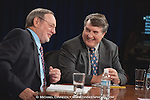 From left, Congressman Don Young (R) Alaska and Democratic challenger Harry Crawford laugh during a debate Wednesday, Oct. 27, 2010 in Anchorage, Alaska.  (AP Photo / Michael Dinneen)