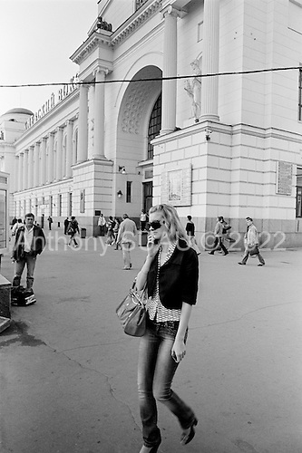 Moscow, Russia.September 15, 2009..People heading to work outside the Kievsky train station.
