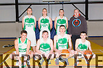 St. Brendans - Men's Div 1 - St Brendan's v St Mary's at Moyderwell Gym. Pictured Front Rory Doyle, Nathan Roche, Cian O'Sullivan, Rhys Barry Back l-r Fergal O'Sullivan, Darren O'Sullivan, Liam O'Sullivan, Gareth Moore, Coach