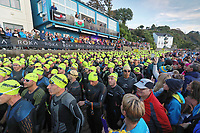 Pictured: Athletes gather for the swim event on the north beach. Sunday 15 September 2019<br /> Re: Ironman triathlon event in Tenby, Wales, UK.