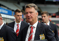 Pictured: Manager Louis Van Gaal of Manchester United arrives Sunday 30 August 2015<br /> Re: Premier League, Swansea v Manchester United at the Liberty Stadium, Swansea, UK
