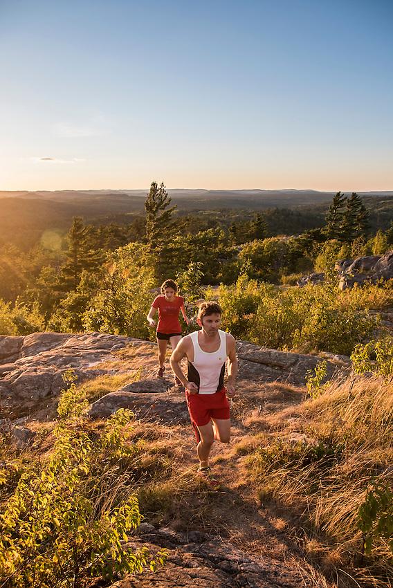 Trail running at Sugarloaf Mountain near Marquette, Michigan.