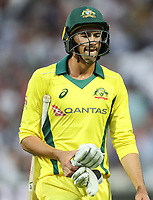 Australia's Ashton Agar at the end of his innings<br /> <br /> Photographer Andrew Kearns/CameraSport<br /> <br /> Only IT20 - Vitality IT20 Series - England v Australia - Wednesday 27th June 2018 - Edgbaston - Birmingham<br /> <br /> World Copyright &copy; 2018 CameraSport. All rights reserved. 43 Linden Ave. Countesthorpe. Leicester. England. LE8 5PG - Tel: +44 (0) 116 277 4147 - admin@camerasport.com - www.camerasport.com