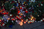A carpet of tributes lying outside the French embassy in Berlin. The flowers, candles and other messages were laid by people in remembrance of those killed in the terrorist attacks on Paris by Islamic State militants. The attacks on Friday 13th November took place across six different sites in the French capital and left more than 130 people dead.