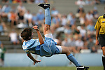 06 September 2009: UNC's Cameron Brown scores his second goal on a bicycle kick. The University of North Carolina Tar Heels defeated the Evansville University Purple Aces 4-0 at Fetzer Field in Chapel Hill, North Carolina in an NCAA Division I Men's college soccer game.