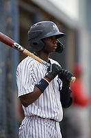 GCL Yankees East Angel Rojas (20) on deck during a Gulf Coast League game against the GCL Phillies East on July 31, 2019 at Yankees Minor League Complex in Tampa, Florida.  GCL Phillies East defeated the GCL Yankees East 4-3 in the second game of a doubleheader.  (Mike Janes/Four Seam Images)