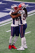 3rd February 2019, Atlanta Georgia, USA; NFL Superbowl LIII, New England Patriots versus Los Angeles Rams; New England Patriots strong safety Duron Harmon (21) celebrates with New England Patriots defensive end Adrian Clayborn (94) at the end of Super Bowl LIII