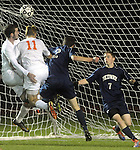 (Worcester Ma 111613) Belchertown 16, Samuel Stroman, left, looks as his ball go into the net tying the game at 1, with him is 11, Ryan Kearney, Medway 2, Ethan Travalini and 7, Adem Karacaogiu,  in the first half, during the MIAA Division Three Boys Soccer Final between Belchertown High and Medway High, Saturday night at Foley Field in Worcester. (Jim Michaud Photo) For Sunday