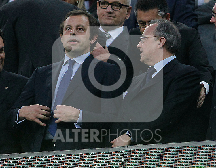 FC Barcelona's President Sandro Rossell (l) and Real Madrid's President Florentino Perez during UEFA Champions League match.May 3,2011.(ALTERPHOTOS/Acero)