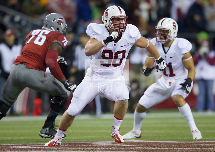 SEATTLE, WA - September 28, 2013: Stanford defensive end Josh Mauro chases a ball carrier during play  against Washington State at CenturyLink Field. Stanford won 55-17