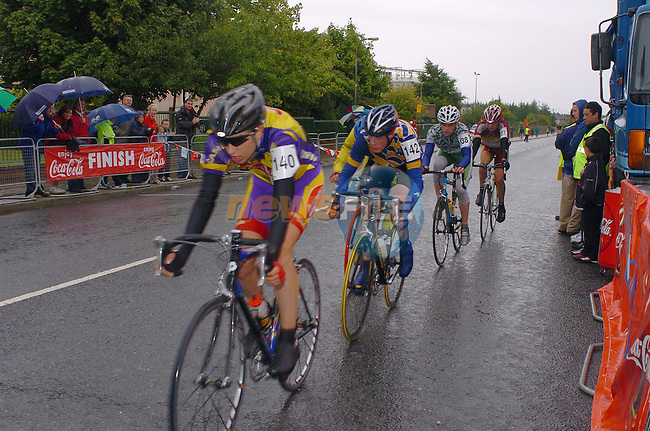 No 140 Issac Speirs Navan RC, leads the pack crossing the Line in the Drogheda Wheelers/Drogheda Concentrates 2004 All Ireland Youth Championships U/16 final with one lap to go in Drogheda..Photo Fran Caffrey Newsfile.ie..This Picture has been sent to you by Newsfile Ltd..The Studio,.Millmount Abbey,.Drogheda,.Co. Meath,.Ireland..Tel: +353(0)41-9871240.Fax: +353(0)41-9871260.ISDN: +353(0)41-9871010.www.newsfile.ie..general email: pictures@newsfile.ie