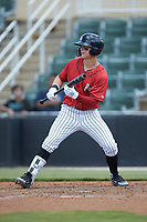 Steele Walker (10) of the Kannapolis Intimidators squares to bunt against the Greensboro Grasshoppers at Kannapolis Intimidators Stadium on August 5, 2018 in Kannapolis, North Carolina. The Grasshoppers defeated the Intimidators 2-1 in game one of a double-header.  (Brian Westerholt/Four Seam Images)