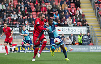 Myles Weston of Wycombe Wanderers battles Nicky Hunt of Leyton Orient during the Sky Bet League 2 match between Leyton Orient and Wycombe Wanderers at the Matchroom Stadium, London, England on 1 April 2017. Photo by Andy Rowland.