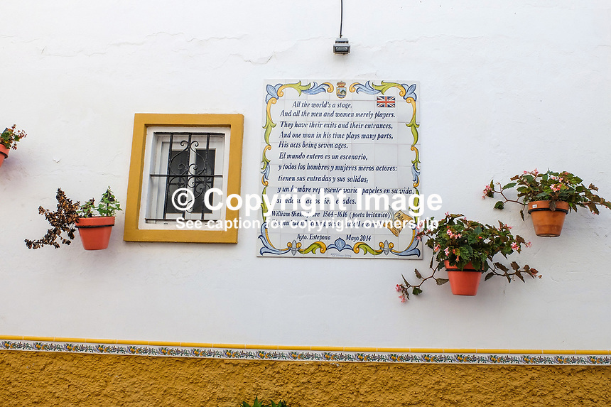 Spanish tribute to Shakespeare, wall, hacienda, Estepona, Malaga Province, Spain, October, 2018, 201810085182<br /> <br /> Copyright Image from Victor Patterson, Belfast, UK, BT9 5HG<br /> <br /> t: +44 28 9066 1296 (from Rep of Ireland 048 9066 1296)<br /> m: +44 7802 353836<br /> <br /> victorpattersonbelfast@gmail.com<br /> www.victorpatterson.com<br /> <br /> Please see my Terms and Conditions of Use at https://www.victorpatterson.com/page2<br /> It is IMPORTANT that you familiarise yourself with them.<br /> <br /> Images used on the Internet incur an additional cost and must be visibly watermarked i.e. © Victor Patterson within the body of the image and copyright metadata must not be deleted. Images used on the Internet have a size restriction of 4kbs and are chargeable at rates available at victorpatterson.com.<br /> <br /> This image is only available for the use of the download recipient i.e. television station, newspaper, magazine, book publisher, etc, and must not be passed on to any third party. It is also downloaded on condition that each and every usage is notified within 7 days to victorpattersonbelfast@gmail.com.<br /> <br /> The right of Victor Patterson to be identified as the author is asserted in accordance with The Copyright Designs And Patents Act (1988). All moral rights are asserted.