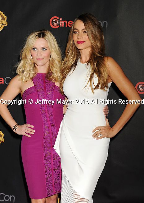 LAS VEGAS, CA - APRIL 21: Actresses Reese Witherspoon (L) and Sofia Vergara arrive at Warner Bros. Pictures Invites You to ?The Big Picture at The Colosseum at Caesars Palace during CinemaCon, the official convention of the National Association of Theatre Owners, on April 21, 2015 in Las Vegas, Nevada.