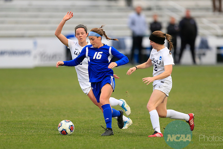 KANSAS CITY, MO - DECEMBER 03:  Caitlyn Jobanek (12)  and Elise Aylward (2) of Western Washington University defend Dani Johnson (16) of Grand Valley State University during the Division II Women's Soccer Championship held at Children's Mercy Victory Field at Swope Soccer Village on December 03, 2016 in Kansas City, Missouri. Western Washington University beat Grand Valley State University 3-2 to win the national title.  (Photo by Jack Dempsey/NCAA Photos via Getty Images)
