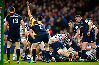 The referee awards a try to Francois Louw of Bath Rugby. Heineken Champions Cup match, between Leinster Rugby and Bath Rugby on December 15, 2018 at the Aviva Stadium in Dublin, Republic of Ireland. Photo by: Patrick Khachfe / Onside Images