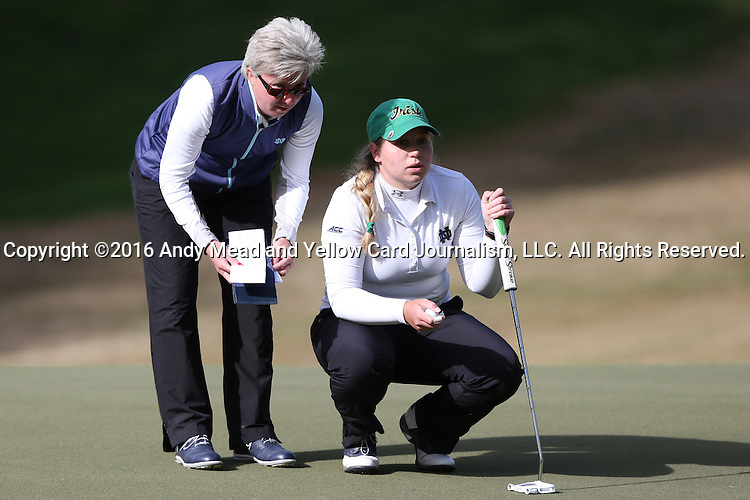 16 April 2016: Notre Dame head coach Susan Holt (left) with player Isabella DiLisio. The Second Round of the Atlantic Coast Conference's Womens Golf Tournament was held at Sedgefield Country Club in Greensboro, North Carolina.