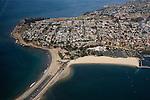 Aerial view of Cabrillo Beach in San Pedro, Los Angeles, CA