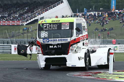 3rd September 2017, Most Racing Track, Most, Czech Republic; FIA European Truck Racing Championship; 3rd race, Ryan SMITH (GB/MAN/Oxxo Energy Racing) with heavy damage to side of truck