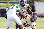 Palos Verdes, CA 10/25/13 - Brandon Mills (Mira Costa #27) and Shane Scott (Peninsula #18) in action during the Mira Costa vs Peninsula varsity football game at Palos Verdes Peninsula High School.