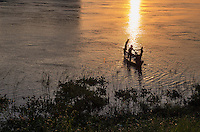 Sunrise over the Mekong River and fisherman, Cambodia
