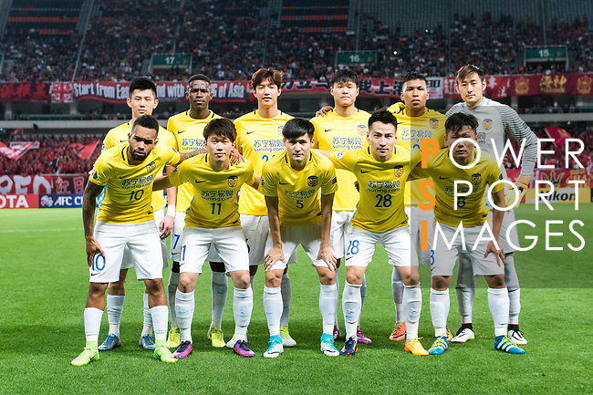 Jiangsu FC squad pose for team photo during the AFC Champions League 2017 Round of 16 match between Shanghai SIPG FC (CHN) vs Jiangsu FC (CHN) at the Shanghai Stadium on 24 May 2017 in Shanghai, China. Photo by Marcio Rodrigo Machado / Power Sport Images