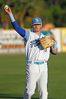 Myrtle Beach Pelicans second baseman Ian Happ (5) before a game against the Frederick Keys at Ticketreturn.com Field at Pelicans Ballpark on April 7, 2016 in Myrtle Beach, South Carolina. Myrtle Beach defeated Frederick 5-2. (Robert Gurganus/Four Seam Images)