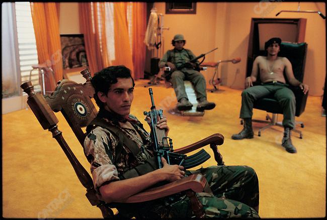 Sandanista guerillas in dictator Samoza's residence. Managua, Nicaragua, July 1979