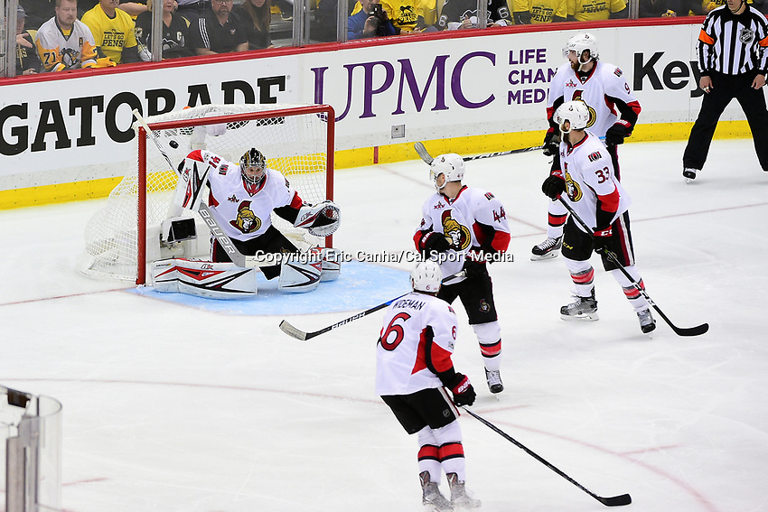 May 25, 2017: Ottawa Senators goalie Craig Anderson (41) has the puck get by in double overtime during game seven of the National Hockey League Eastern Conference Finals between the Ottawa Senators and the Pittsburgh Penguins, held at PPG Paints Arena, in Pittsburgh, PA. The Pittsburgh Penguins defeat the Ottawa Senators 3-2 in double overtime to win the NHL Eastern Conference Championship and advance to face the Nashville Predators in the Stanley Cup Finals.  Eric Canha/CSM